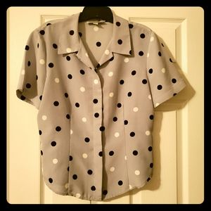 🖤🤍 Kasper & Co Size 12 Vintage Polka-dot Blouse